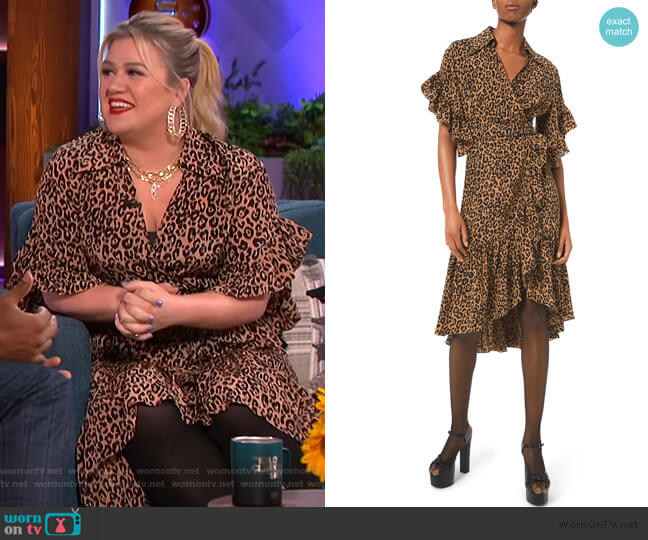 Wrap-effect leopard-print silk crepe de chine dress by Michael Kors Collection worn by Kelly Clarkson  on The Kelly Clarkson Show