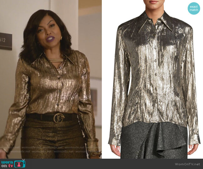 Crushed Metallic Silk-Blend Button-Down Shirt by Michael Kors Collection worn by Cookie Lyon (Taraji P. Henson) on Empire