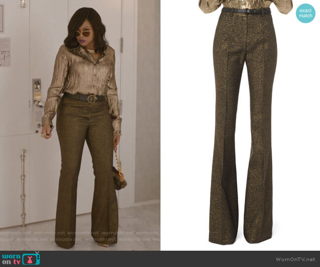 Metallic Wool Flare-Leg Pants by Michael Kors Collection worn by Cookie Lyon (Taraji P. Henson) on Empire