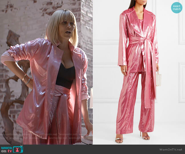 Marina Belted Metallic Velvet Blazer and Wide-Leg Pants by Michael Lo Sordo worn by Giselle (Nicole Ari Parker) on Empire