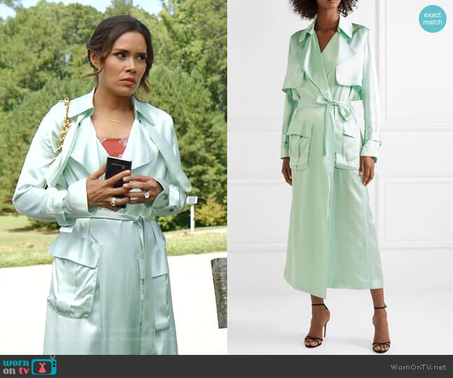 Silk-Satin Trench Coat by Michael Lo Sordo worn by Cristal Jennings (Daniella Alonso) on Dynasty