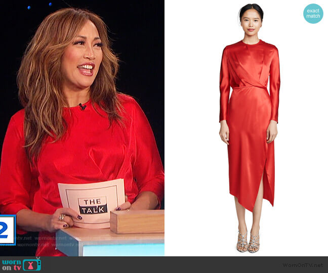 Origami Midi Dress by Michelle Mason worn by Carrie Inaba  on The Talk