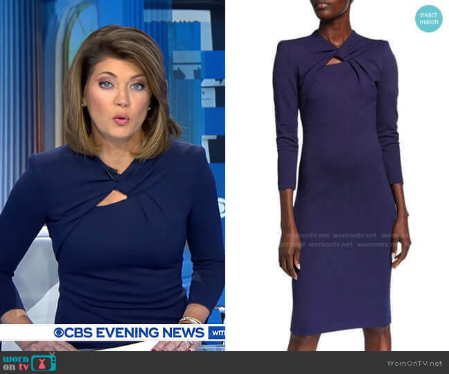 Milano Jersey Knotted-Neck Bodycon Dress by Giorgio Armani worn by Norah O'Donnell  on CBS Evening News