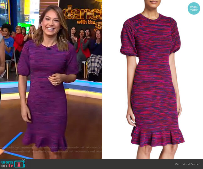 Space Dye Puff-Sleeve Dress by Milly worn by Ginger Zee  on Good Morning America