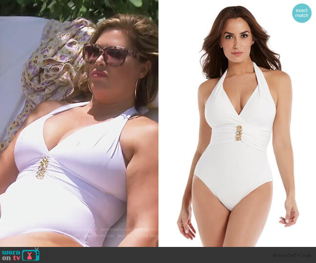 Rock Solid Rockstar One Piece Swimsuit by Miraclesuit worn by Emily Simpson  on The Real Housewives of Orange County