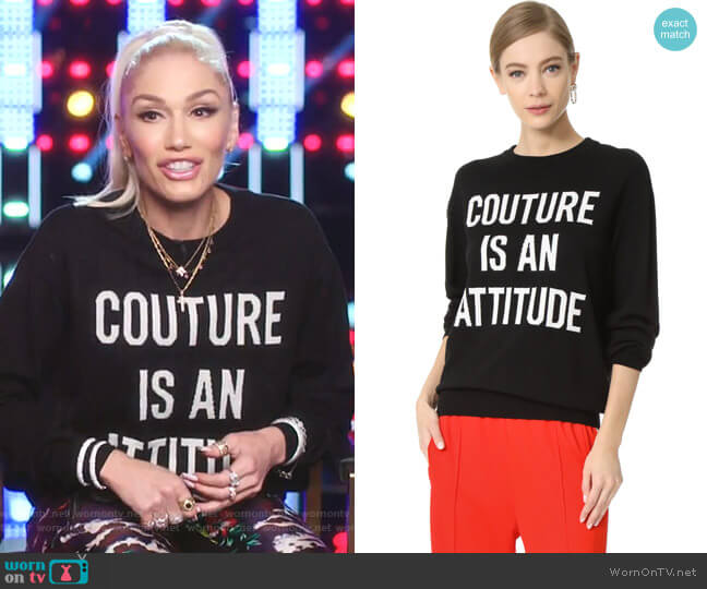 Intarsia Sweater by Moschino worn by Gwen Stefani  on The Voice