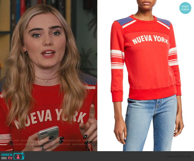 Nueva York Sweatshirt by Mother worn by Taylor Otto (Meg Donnelly) on American Housewife