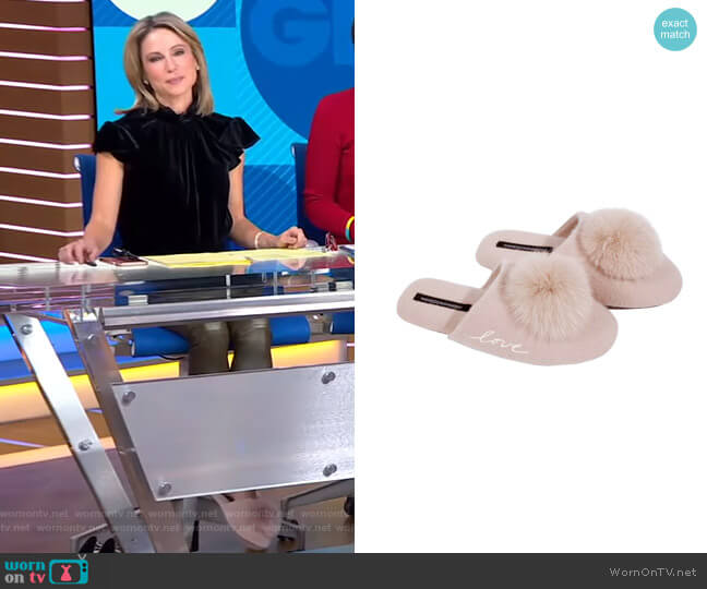 Puff Love Slipper by Naked Cashmere worn by Amy Robach  on Good Morning America