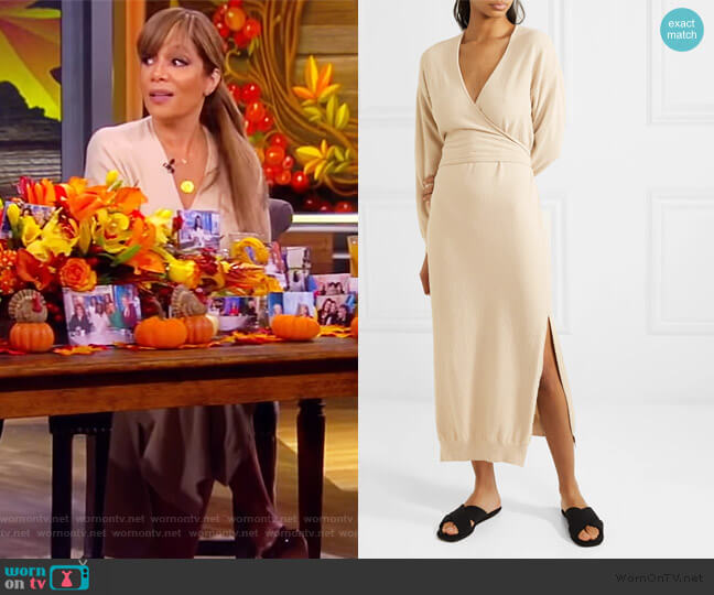 Annika stretch cotton-blend terry wrap dress by Nanushka worn by Sunny Hostin  on The View