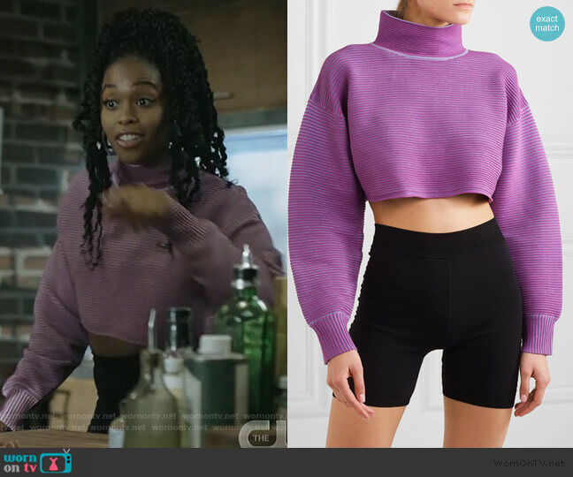 + NET SUSTAIN cropped ribbed organic cotton sweater by Nagnata worn by Anissa Pierce (Nafessa Williams) on Black Lightning