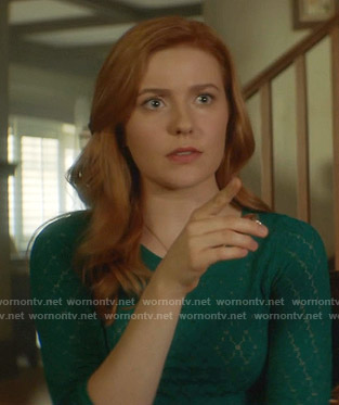 Nancy's green pointelle sweater on Nancy Drew