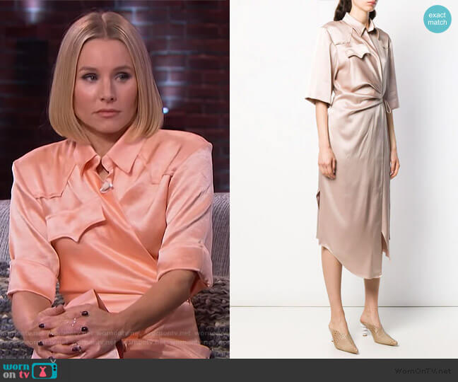 Lais Satin Dress by Nanushka worn by Kristen Bell on The Kelly Clarkson Show
