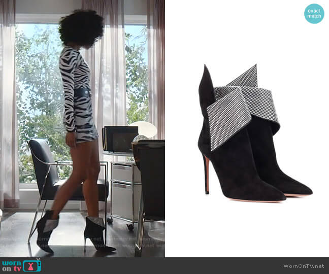 Night Fever 105 Suede Ankle Boots by Aquazzura worn by Monica Colby (Wakeema Hollis) on Dynasty