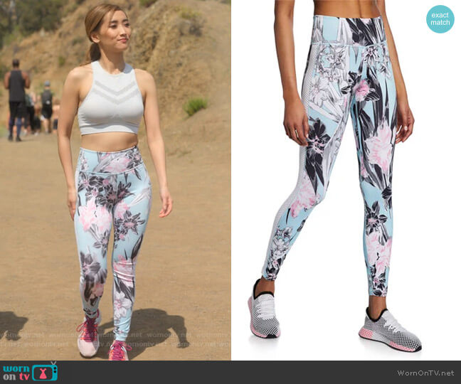 All-In Floral Mesh Panel High-Rise Tights by Nike worn by Madison Maxwell (Brenda Song) on Dollface