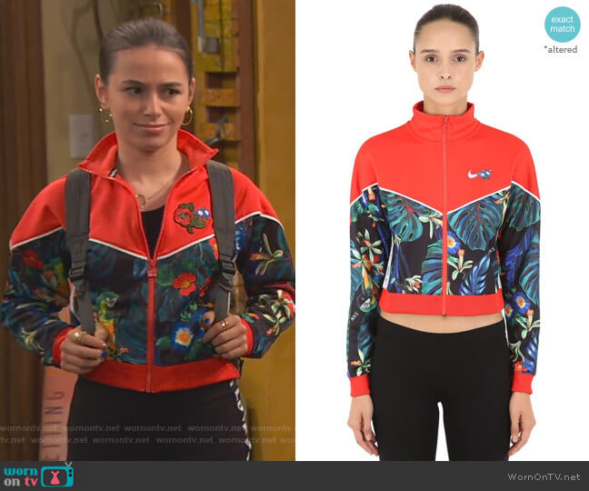 Floral Cropped Track Jacket by Nike worn by Tess O'Malley (Sky Katz) on Ravens Home