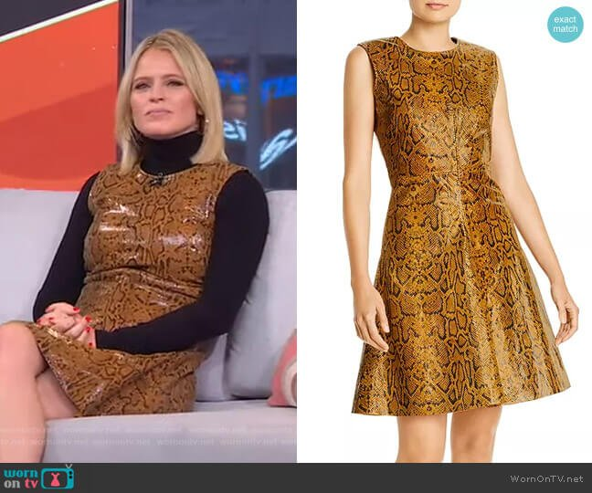 Mercy Snake-Embossed Leather Dress by Notes du Nord worn by Sara Haines  on Good Morning America