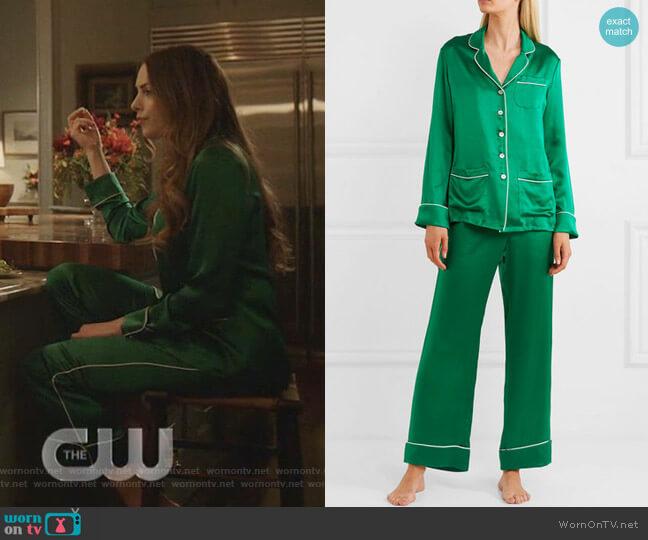 Coco Pajama Set by Olivia von Halle worn by Fallon Carrington (Elizabeth Gillies) on Dynasty