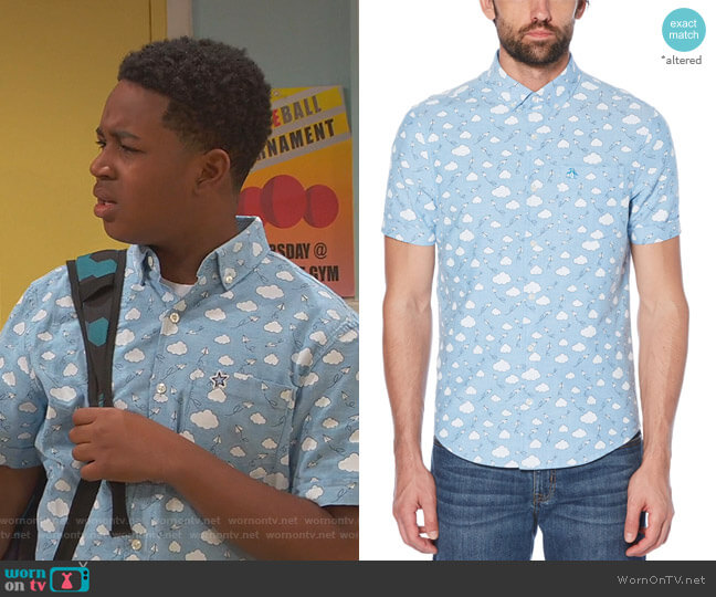 Cloud Print Shirt by Original Penguin worn by Booker Baxter (Issac Ryan Brown) on Ravens Home