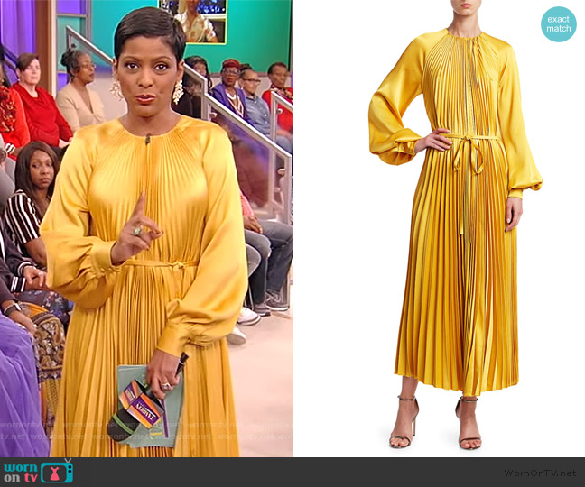 Puff-Sleeve Satin Pleated Tie-Front Dress by Oscar de la Renta worn by Tamron Hall  on Tamron Hall Show