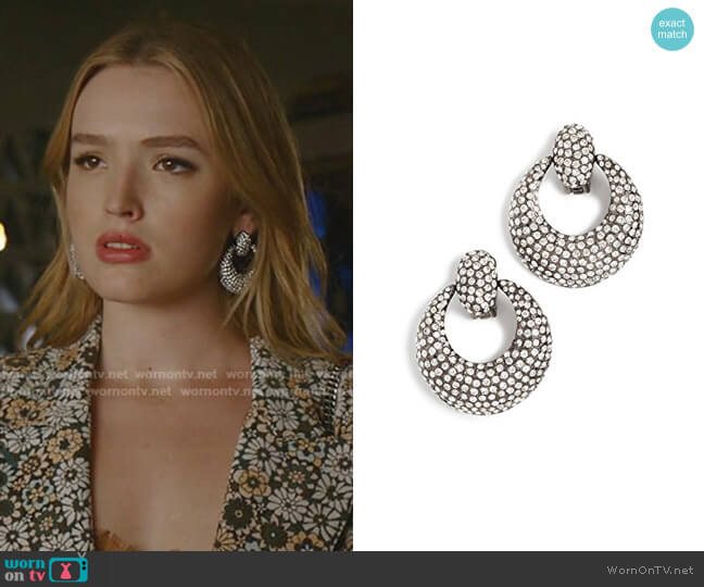 Pave Knock Hoop Earrings by Oscar de la Renta worn by Kirby Anders (Maddison Brown) on Dynasty