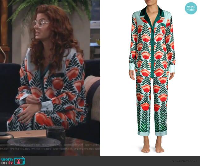 Floral Silk Sleep Shirt and pants by Oscar de la Renta worn by Grace Adler (Debra Messing) on Will & Grace