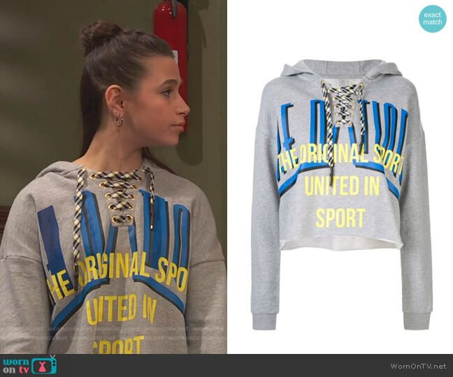 Rocket Shot Hoodie by P .E Nation worn by Tess O'Malley (Sky Katz) on Ravens Home