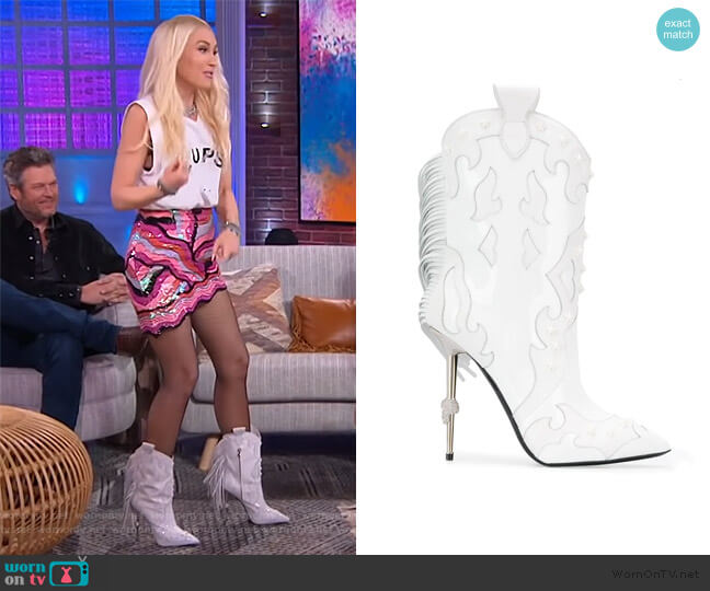 Panelled Cowboy Boots by Phillipp Plein worn by Gwen Steffani on The Kelly Clarkson Show