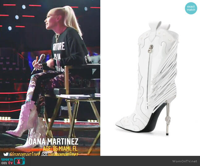 Panelled Cowboy Boots by Philipp Plein worn by Gwen Stefani  on The Voice