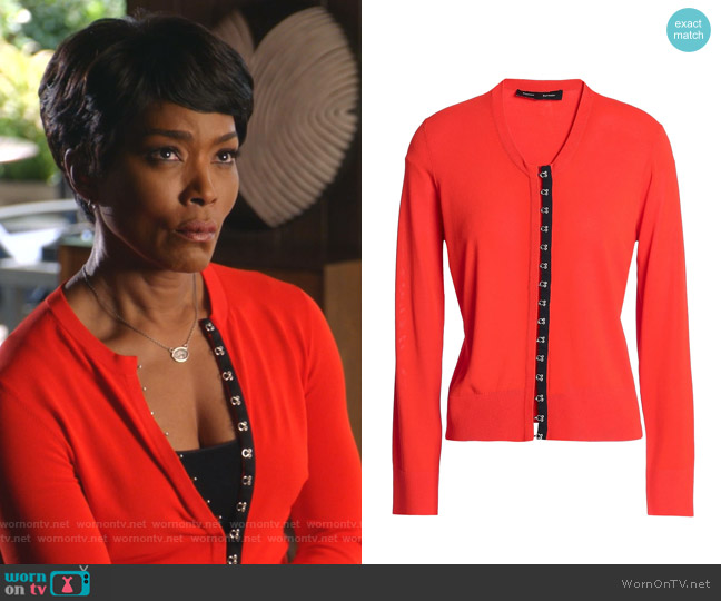 Satin-Trimmed Knitted Cardigan by Proenza Schouler worn by Athena Grant (Angela Bassett) on 9-1-1
