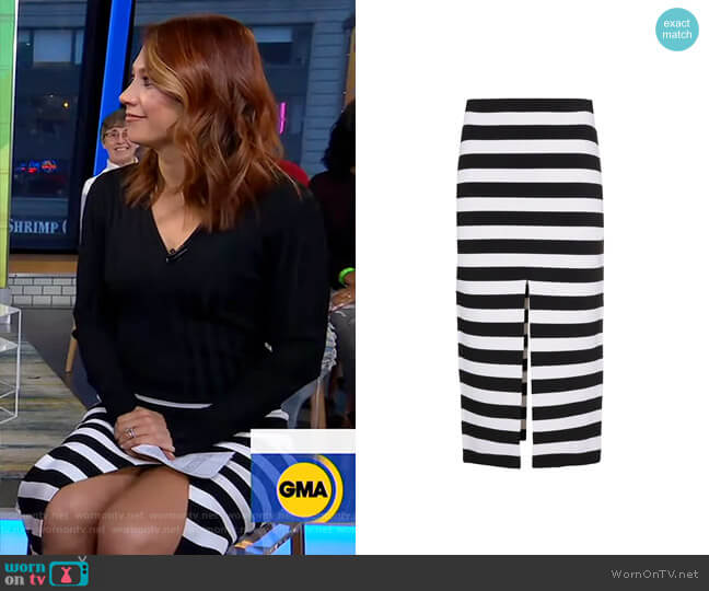 Stripe Knit Pencil Skirt by Proenza Schouler worn by Ginger Zee  on Good Morning America