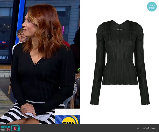 Zip Neck Ribbed Top by Proenza Schouler worn by Ginger Zee  on Good Morning America