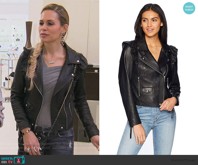 Annika Moto Jacket by Paige worn by Jackie Goldschneider  on The Real Housewives of New Jersey