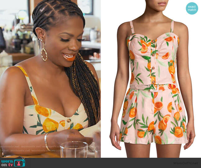Katarina Orange Sweetheart Linen Crop Top by Parker worn by Kandi Burruss  on The Real Housewives of Atlanta