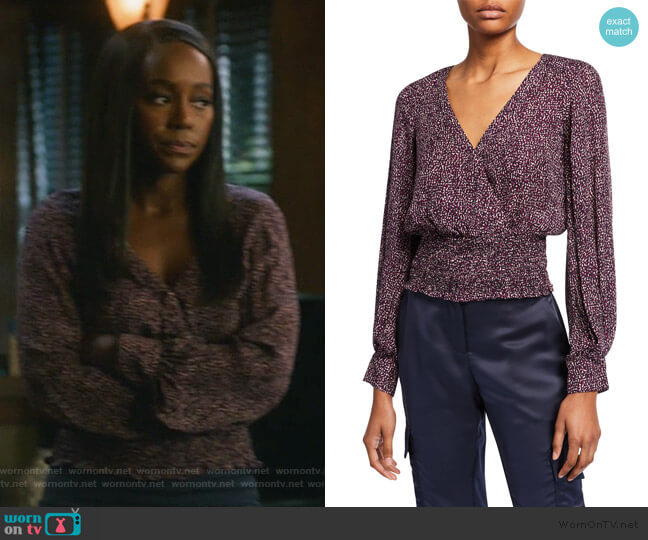 Matilda Printed Smocked Long-Sleeve Blouse by Parker worn by Michaela Pratt (Aja Naomi King) on HTGAWM