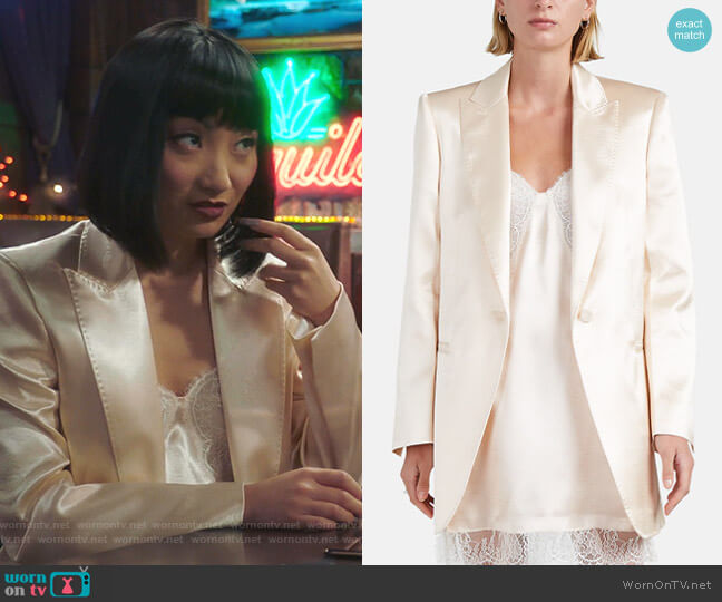Satin One-Button Blazer by Philosophy di Lorenzo Serafini worn by Mei Lin (Poppy Liu) on Sunnyside