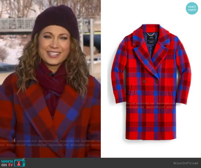 Plaid Wool Blend Oversize Top Coat by J. Crew worn by Ginger Zee  on Good Morning America