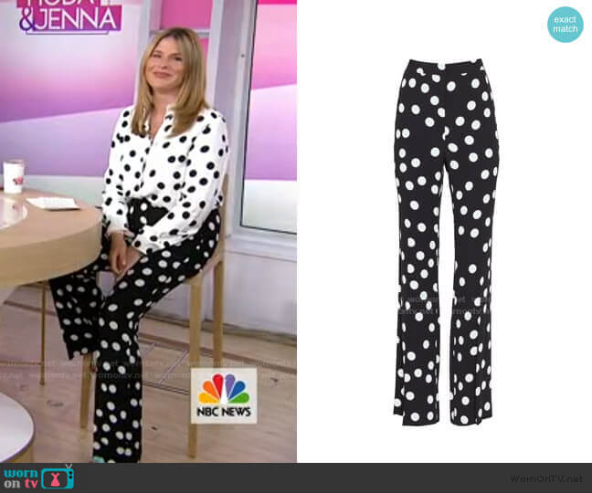Polka Dot Ruthie Pant by Pearl by Lela Rose worn by Jenna Bush Hager  on Today