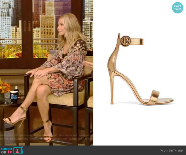 Portofino Metallic Leather Sandals by Gianvito Rossi worn by Kelly Ripa  on Live with Kelly & Ryan