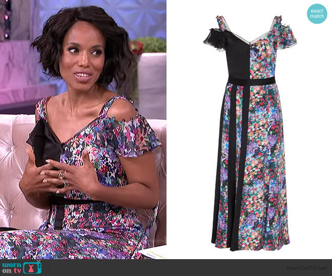Contrast Floral Silk Midi Dress by Prabal Gurung worn by Kerry Washington on The Real