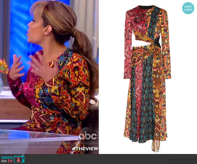 Taxila Cutout Patchwork-Effect Silk Midi Dress by Prabal Gurung worn by Sunny Hostin  on The View