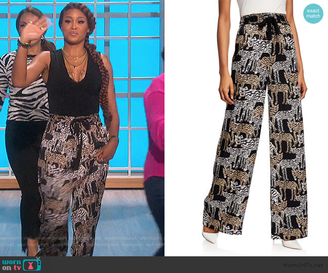 Artisanal Tiger-Print Pants by Prabal Gurung worn by Eve  on The Talk