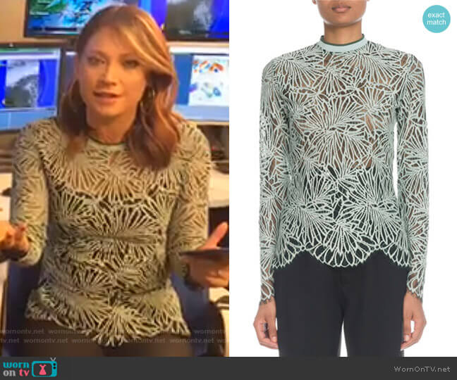Mock-Neck Long-Sleeve Lace Blouse by Proenza Schouler worn by Ginger Zee  on Good Morning America
