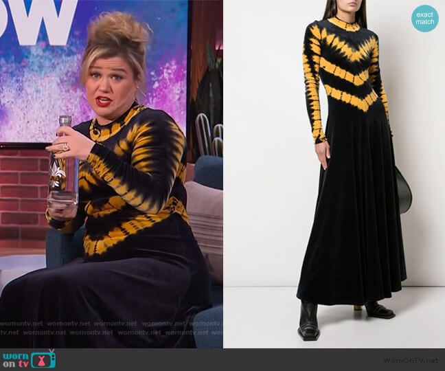 Tie Dye Velvet Long Sleeve Dress by Proenza Schouler worn by Kelly Clarkson  on The Kelly Clarkson Show
