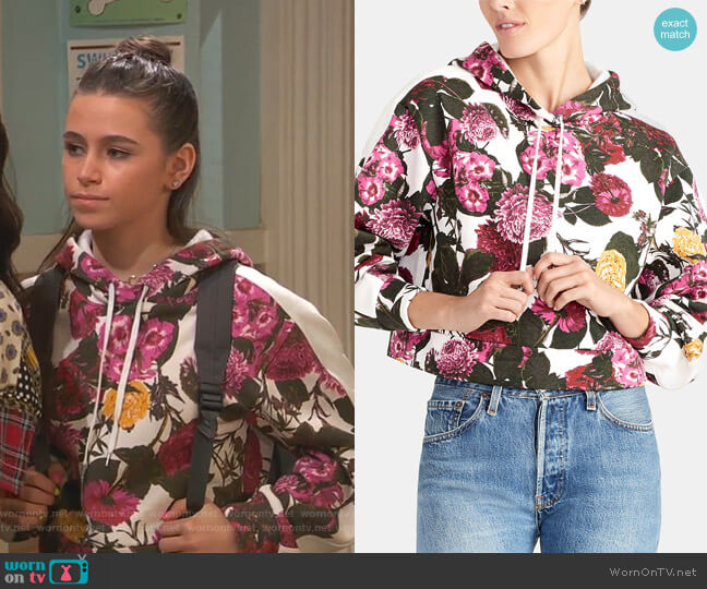 Ginger Printed Hoodie Sweatshirt by RACHEL Rachel Roy worn by Tess O'Malley (Sky Katz) on Ravens Home
