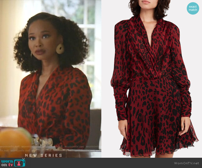 Leo Leopard Crepe Mini Dress by Redemption worn by Monica Colby (Wakeema Hollis) on Dynasty