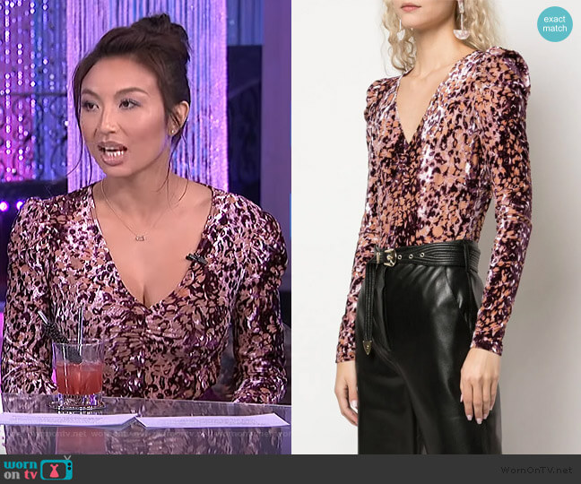 Animal Print Bodysuit by Rachel Zoe worn by Jeannie Mai  on The Real