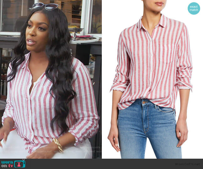 Charli Striped Button-Down Shirt by Rails worn by Porsha Williams  on The Real Housewives of Atlanta