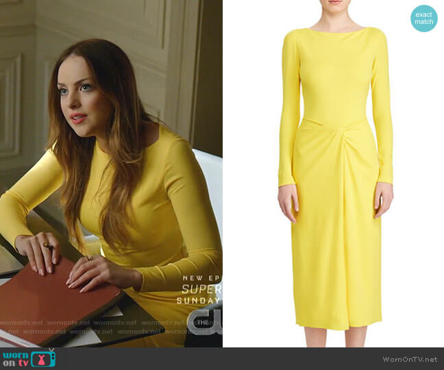 Nigel Twisted-Waist Mid Dress by Ralph Lauren Collection worn by Fallon Carrington (Elizabeth Gillies) on Dynasty
