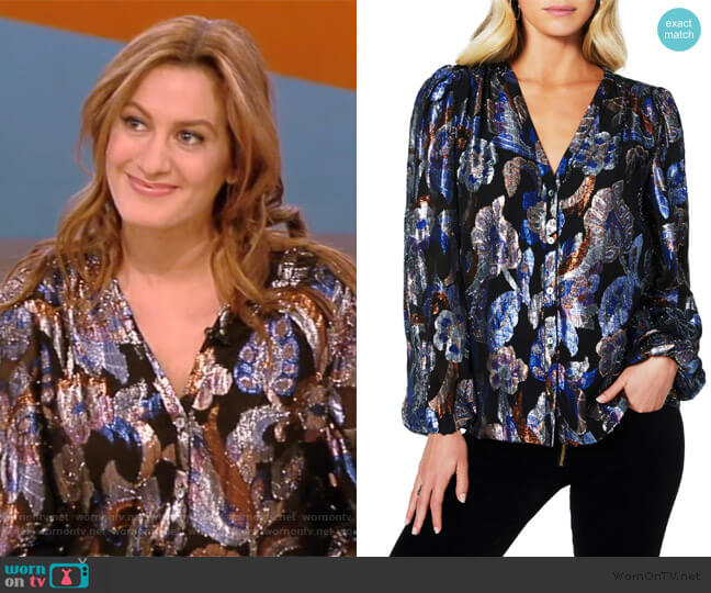 Trey Metallic Jacquard Silk Blouse by Ramy Brook worn by Elizabeth Wagmeister on the Tamron Hall Show