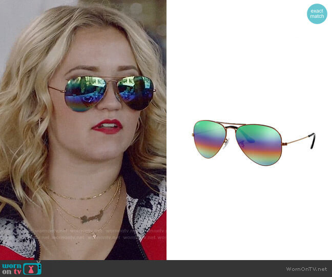 Ray Ban Aviator Mineral Flash Lenses in Bronze Copper / Green Rainbow Flash worn by Roxy Doyle (Emily Osment) on Almost Family
